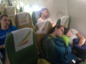 By the time the second flight rolled around, they were ready for some serious sleep!