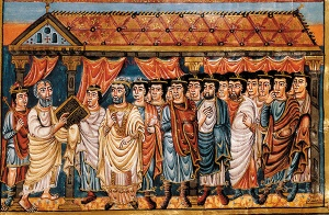 Moses Teaching the Israelites, illustration from the Bible of St. Charles the Bald (9th Century)