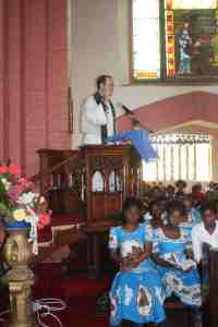 Preaching at St. Michael and All Angels church in Blantyre.