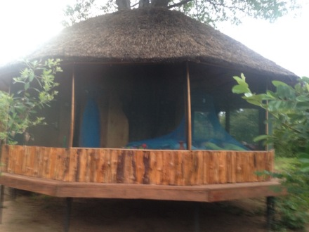 The Treehouse at Kutchire. The blue is the mosquito netting and the lumps inside it are some of my favorite people in the world.