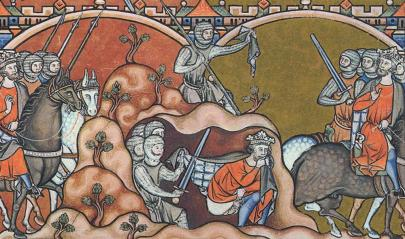 David Spares Saul, illustration from the Maciejowski Bible, c.1250