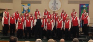"We were surprised and delighted to be invited to a concert by ""The Men of A-Chord"", a Barbershop Chorus. The venue is the First Presbyterian Church, where we are staying."