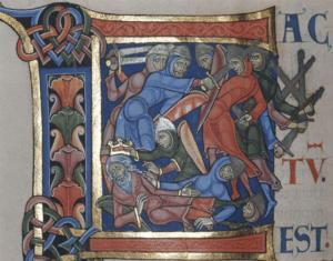 The Battle of Gilboa from The Winchester Bible, 12th c. illustrated manuscript in Winchester, England.