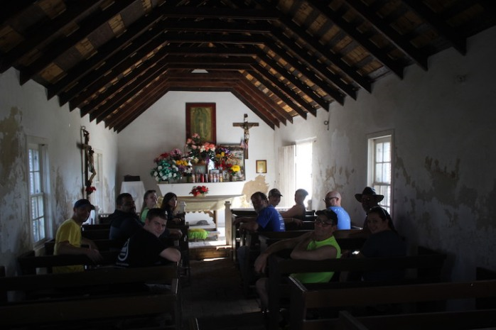 Inside the tiny chapel at La Lomita Mission.