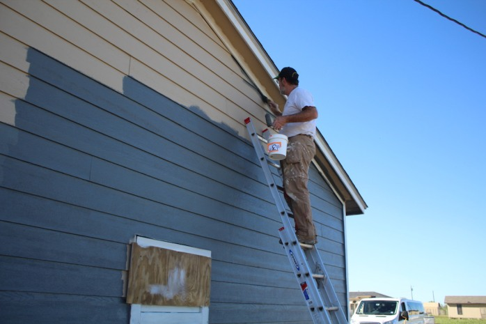 We were able to get a finish coat on the siding on two sides (half) of the home.