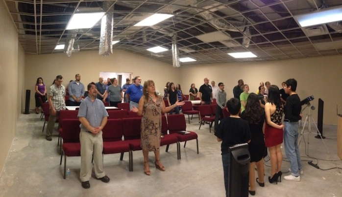 The morning service in the new worship space being built by Solomon's Porch