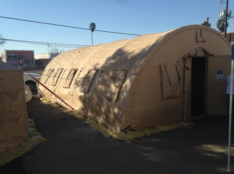 The exterior of a tent used to house some of the refugees received at Sacred Heart